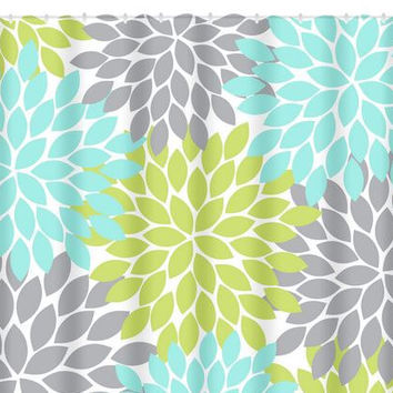 Aqua Gray Lime SHOWER CURTAIN Flower From HoneyDesignStudio On