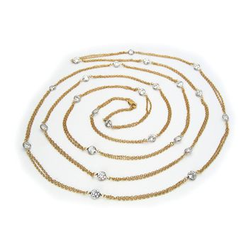 """Two Tone Cz by The Yard Necklace, 60"""""""