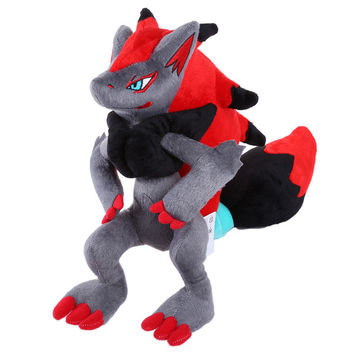 "Free shipping Anime Cartoon Pokemon Zoroark Plush Doll Soft Stuffed Toy 12"" High Quality"