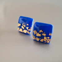 Royal Blue Gold Square Stud Earrings - Polymer Clay and Resin Jewelry
