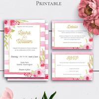 Shabby Chic Wedding Invitation Set, Romantic Watercolour Botanical Wedding, Watercolor Flowers, Wedding RSVP, Modern Wedding, Stripes