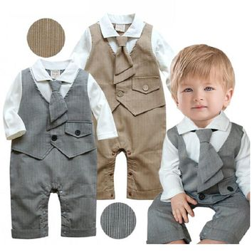 grey Baby Boys Clothes Handsome Party Costumes Tuxedo Baby Rompers Tie Vest Long Jumpsuits Baby Clothing Fashion Cotton Outfits