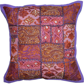 Decorative Throw Pillow Covers Accent Couch Pillow 20x20 Inch Purple Crushed indian Vintage patchwork Pillow In Love Home Decor Housewares