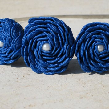 Vintage Inspired Pearl Rosette Headband in Royal Blue