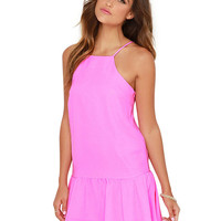 Pink Halter Neckline Ruffled Hem Dress with Strappy String Detail