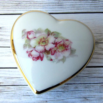 VINTAGE - Gerold Porzellan - Pink Roses Jewelry Heart-Shaped Trinket Box Dish - Bavaria, Germany - Collectibles