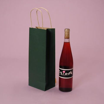 Green Shadowstripe Twisted Handle Wine Liquor Bottle Gift Favor Bags, 5.5 x 3 x 12.5 inches, 25 pack