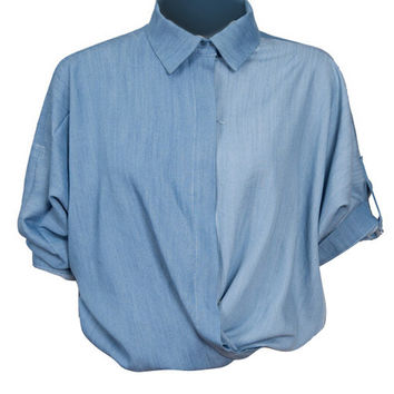 Light Blue Long Sleeve Loose Denim Blouse With Collar