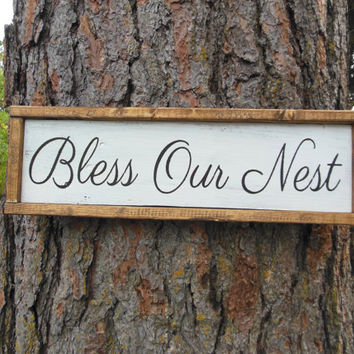 "Joyful Island Creations ""Bless Our Nest"" wood sign, wood framed sign, entry way sign, farm house sign, entry way decor"