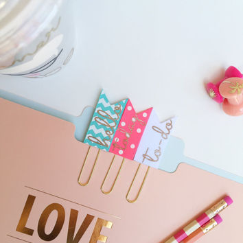 Chevron PaperClips, Planner Bookmark, Planner Accessories, Homework Bookmark, Paper Clips - Set of 3