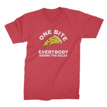 One Bite Everybody Knows The Rules T Shirt Funny Pizza Shirt
