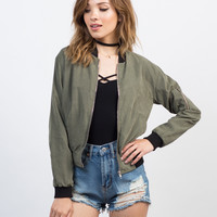 Woven Zip Up Bomber Jacket - Large