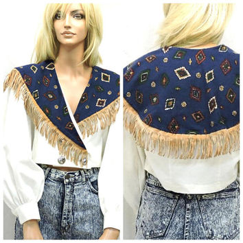 80s southwestern fringe crop top / M / boho fringed country western cropped blouse / 80s long sleeved rodeo blouse / SunnyBohoVintage