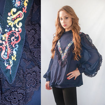 Navy Blue Vintage Ethnic Embroidered Balloon Blouse | Vintage Long Sleeved Batwing Hippie Lace Tunic Top, Oversized Victorian Sheer Sleeves