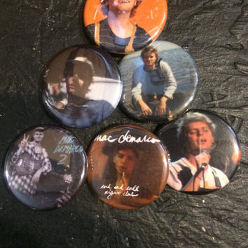 "1.25"" Mac Demarco pin back button set of 6"