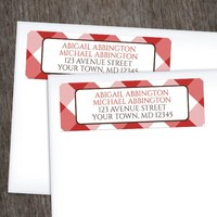 Red and White Gingham Return Address Labels