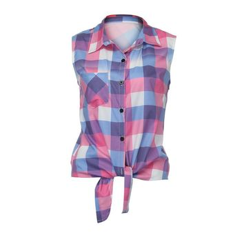 New Summer Sexy Lattice Plaid  Blouse Sleeveless Shirt