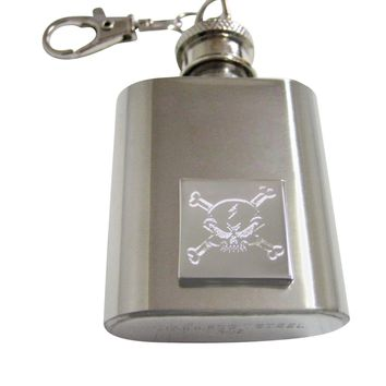 Silver Toned Etched Angry Skull and Crossbones Keychain Flask
