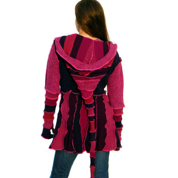 Elf Coat, Sweater Coat, Upcycled, Recycled Sweaters, Pink and Purple, Spring Trends