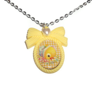 Kawaii Necklace, Baby Duckling, Yellow Duck Cameo Necklace, Retro Vintage Look