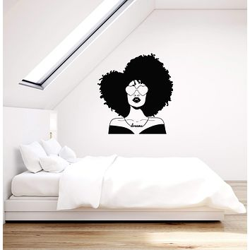 Vinyl Wall Decal African American Beautiful Woman Hippie Afro Style Stickers Mural (ig5885)