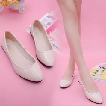 Summer 6 Color Shallow Mouth Woman Patent Leather Ballet Flats