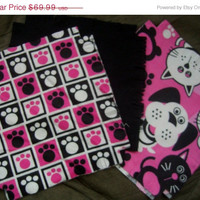 "Flannel rag quilt kit Dogs and Cats puppy kitty paw prints fringed die cut fabric squares and batting complete ready to sew 45.5""x58.5"