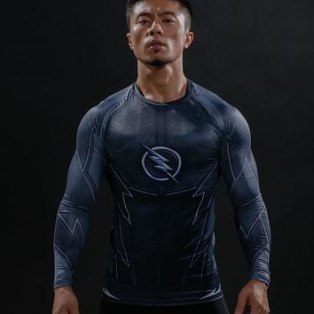 ZOOM 3D Printed T-shirts Men Raglan Long Sleeve Compression Shirt Flash Cosplay Costume crossfit fitness Clothing Tops Male