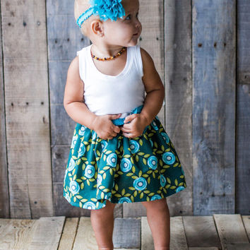 12-18 month tank dress with headband, teal floral dress, fall dress, baby girl dress, girls dress