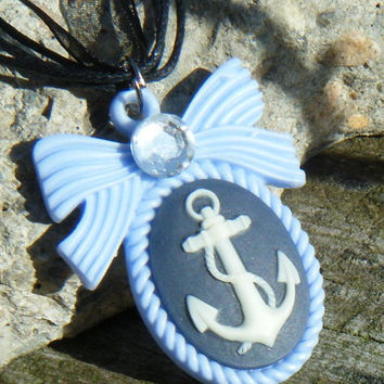 Kawaii Anchor Lolita Necklace on Organza ribbon with silver findings. Cute pink and black anchor necklace. ON SALE WAS 12.00