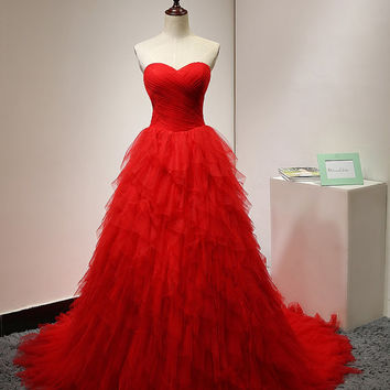 Ball Gown Tulle Prom Dress Long Red Ruffle Puffy Sweetheart Tulle Gorgeous Formal Elegant Evening Gown