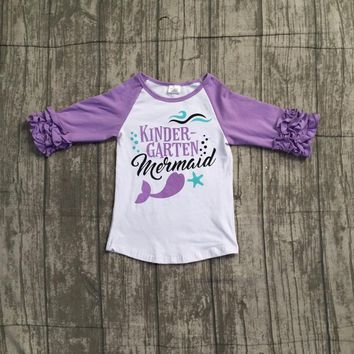 baby girls back to school top raglans children girls kindergarten mermaid raglans girls lavernder sleeve top raglans outfits