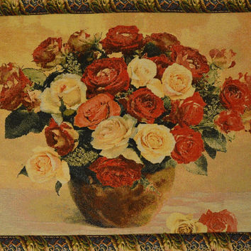Tache 27 x 20 Inch Red Valentine's Proposal Floral Tapestry Wall Hanging With Hanging Loops