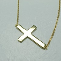 Gold Sideways Cross Necklace - 14K Yellow Gold Vermeil Side Way Cross - Kelly Ripa | BrooklynArts - Jewelry on ArtFire