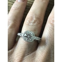 1.8CT Round Cut Halo Russian Lab Diamond Engagement Ring