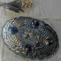 Vintage Garland-Blue Large Oval Carnival Glass Footed Fruit Bowl by Indiana Glass