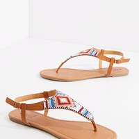 Stripe Beaded T-Strap Sandal | Flat Sandals | rue21