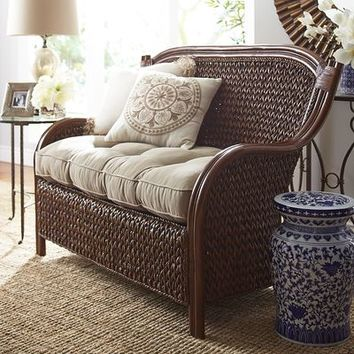 King Brown Wicker Settee