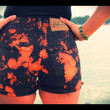 High Waisted Black Bleached Jean Shorts