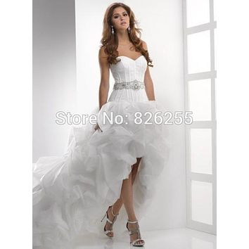 Free Shipping Popular Short Front and Long Back Ruched Organza Wedding Dresses/Gowns with Beading and Sashes ZH0172