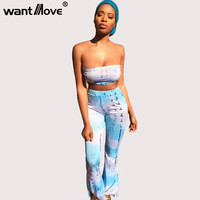 Wantmove tie dye print 2017 summer 2 two pieces sets women crop top and long wide leg pants sexy club party sets tracksuit XD850