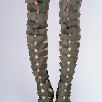 Tessa Cut Out Thigh Boots - Olive