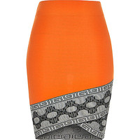 Bright orange pattern hem pencil skirt - mini skirts - skirts - women