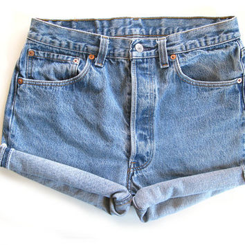 Vtg 80s/90s Levi 501 High Waist Size 28/29 Denim Rolled Cuffed Womens Shorts
