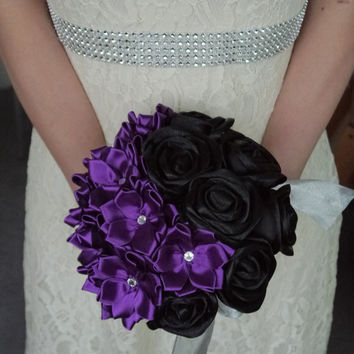 Mysterious Purple and Black Satin Ribbon Rose Wedding Bouquet, Handmade