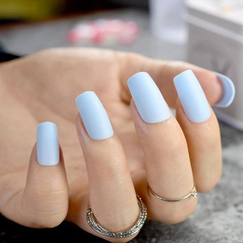 Pure Light Blue Matte Fake Nails Medium Flat 24pcs Frosted Acryl