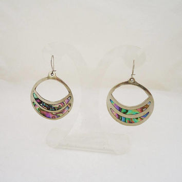 Vintage Alpaca Mexico Earrings, Abalone Earrings, Alpaca Mexico Jewellery