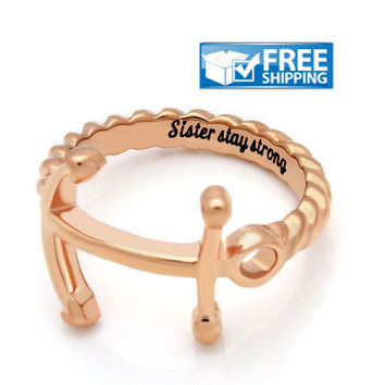 "Sister Gift - Anchor Purity Ring Engraved on Inside with ""Sister Stay Strong"", Sizes 6 to 9"