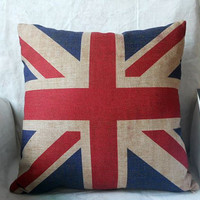The Union Jack British Flag Cotton linen Square Cushion Cover throw pillow case 18""