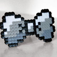 8bit Bow Barrette. Black & White - Gradient, Grey or White (also choose any color)